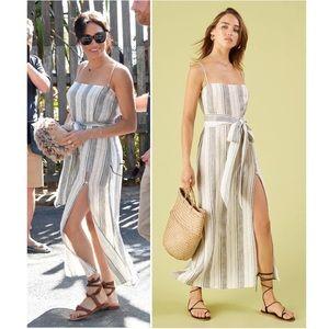 RARE✨Reformation Pineapple Stripe Linen Maxi Dress